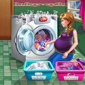 Игра Беременная Анна стирает белье