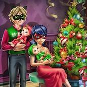 Игра Леди Баг с детьми празднует Новый Год