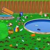 Уборка на лужайке у дома