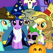 Празднование Хеллоуина с друзьями пони
