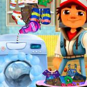 Игра Джейк из Сабвей Сёрферс стирает одежду