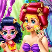 Игра Ариэль с дочкой в салоне красоты