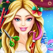 Игра Новогодняя причёска Барби