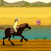 Ветеринар скачет на лошади