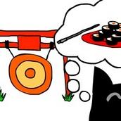 Японский кот и суши