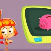Игра Фиксики: Считаем монетки из копилки