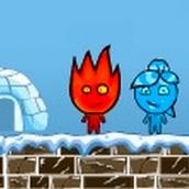 Игра Приключение Огня и Воды в заснеженных горах