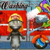 Игра Кот Том: Моет пожарную машину