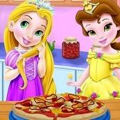 Игра Сделай пиццу с Рапунцель и Бель