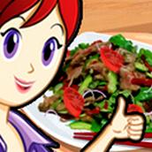 Игра Готовить Тайский салат с мясом: Кухня Сары